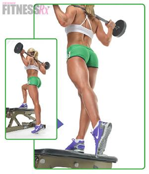 BENCH STEP-UPS WITH BARBELL