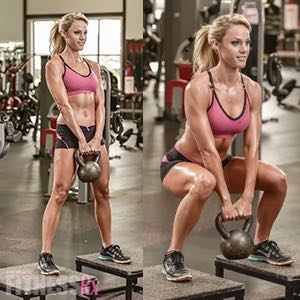 Bench Kettlebell Squat - Increase range of motion with elevation