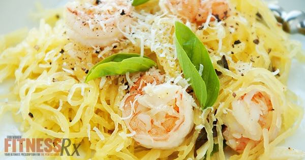 Spaghetti Squash Shrimp Scampi - Light Version of a High Fat Dish