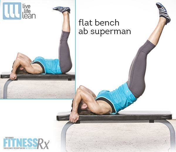 Flat Bench Ab Superman - Skinny Fat With Muscle Ambition Workout - Pauline Nordin's Strength-Building Program