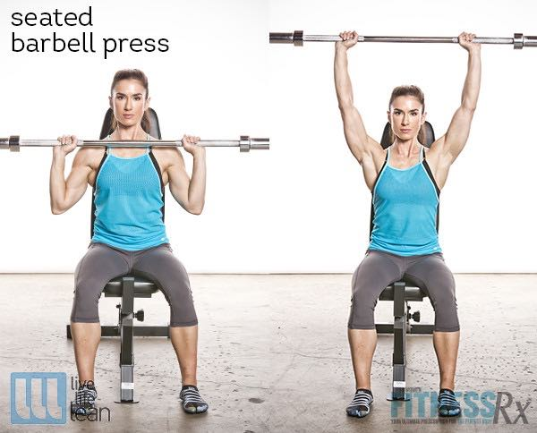 Seated Barbell Press - Skinny Fat With Muscle Ambition Workout - Pauline Nordin's Strength-Building Program