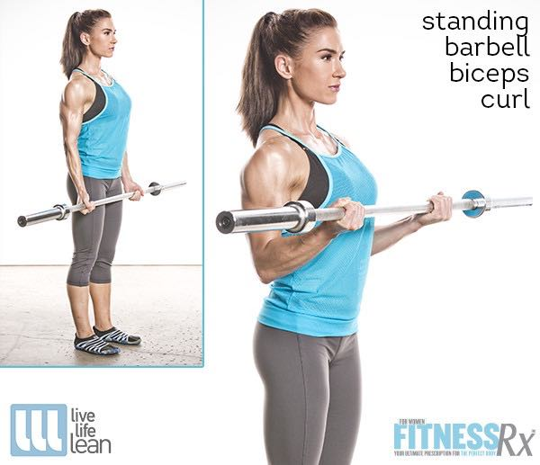 Standing Barbell Biceps Curl - Skinny Fat With Muscle Ambition Workout - Pauline Nordin's Strength-Building Program