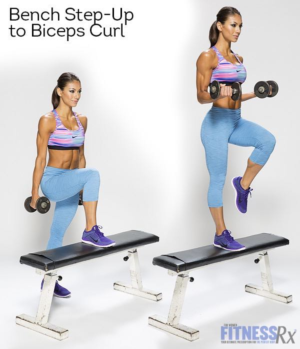 Dumbbell Complex - Bench Step-up To Biceps Curl