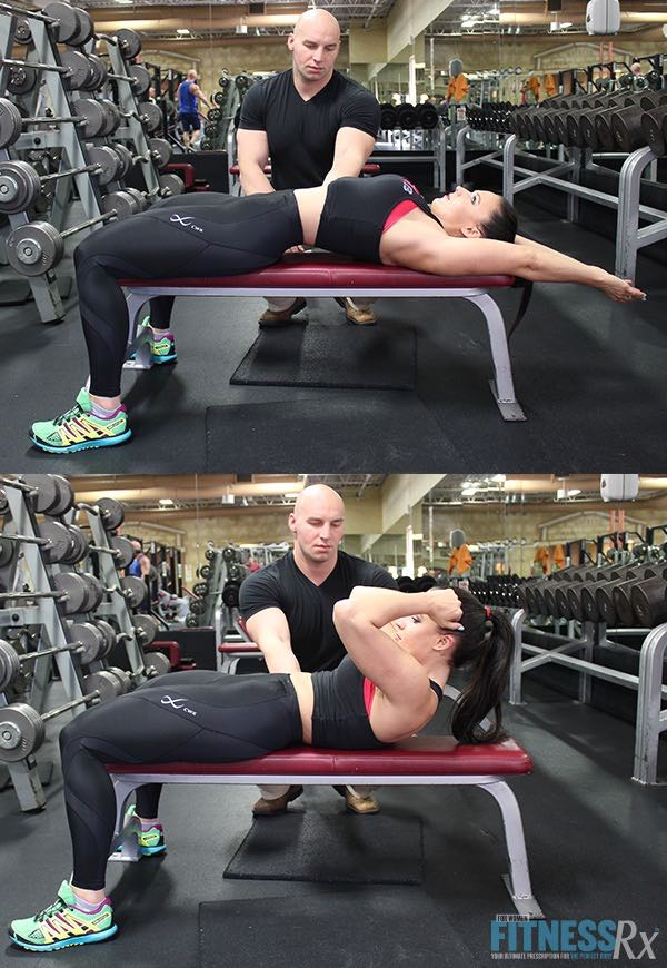Bench Crunch with Feet on Floor