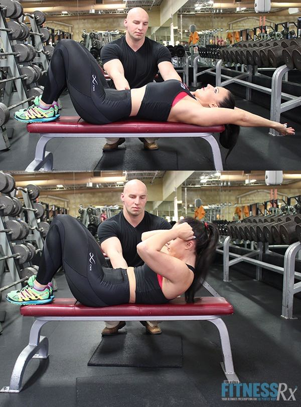 Bench Crunch with Feet on Bench