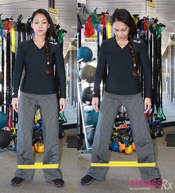 Side-stepping or lateral movement with resistance band