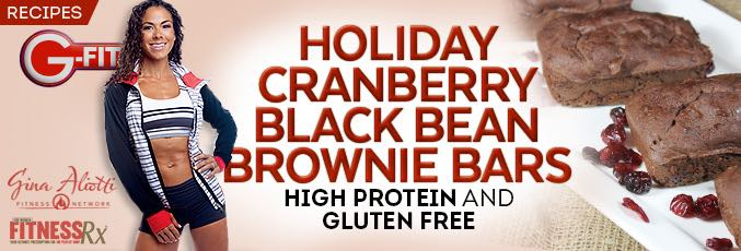Holiday Cranberry Black Bean Brownie Bars