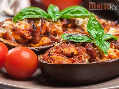 Grilled Chicken Stuffed Eggplant