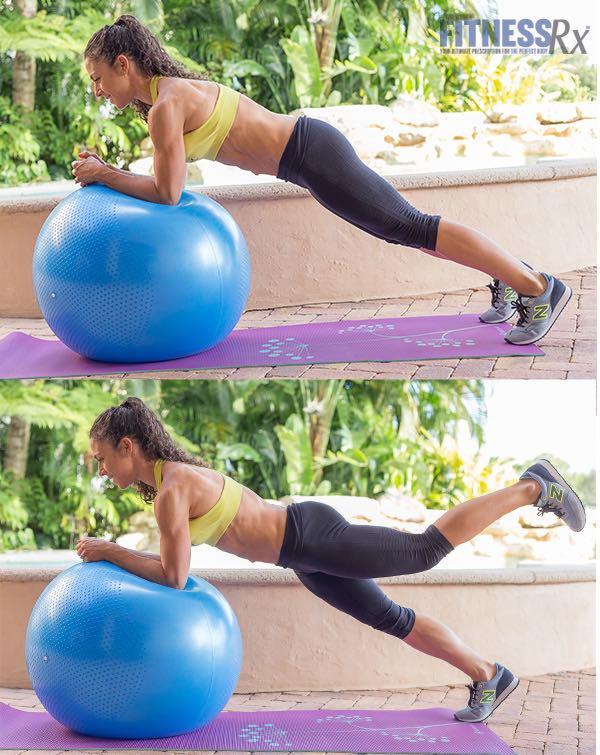 Ball plank with Alternating Leg Extension