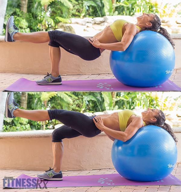 Single-Leg Hip Thrusts off Exercise Ball