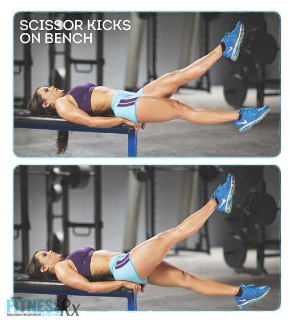 Sculpted Summer Abs With IFBB Pro Jessica Renee - Scissor Kicks on Bench