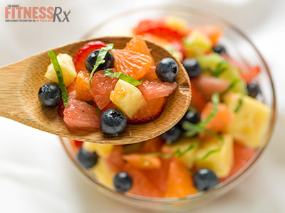 Fruit Salad with Basil Lime Dressing
