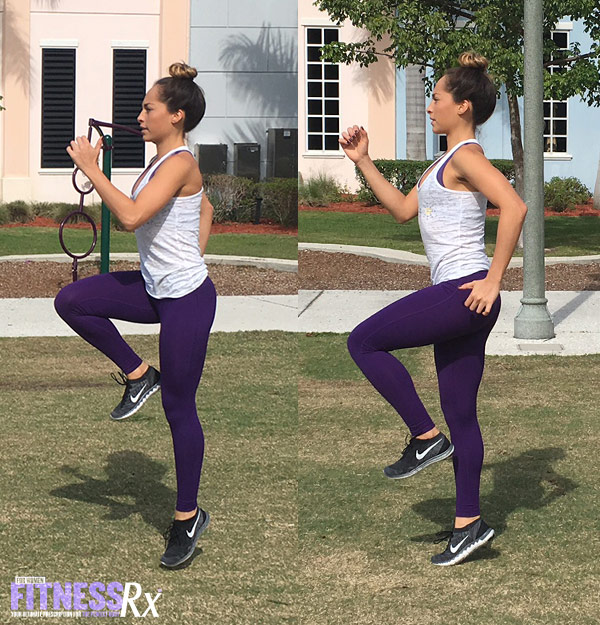 Outdoor Cardio and Bodyweight Circuit - High Knee Skips