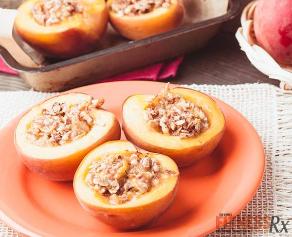 Baked Cinnamon Streusel Stuffed Peaches