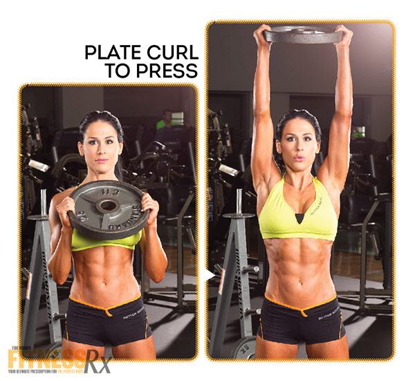 Best Shape Of Your Life Workout With Ms. Bikini Olympia Ashley Kaltwasser - Shoulders and Abs - Plate Curl To Press