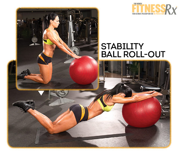 Best Shape Of Your Life Workout With Ms. Bikini Olympia Ashley Kaltwasser - Shoulders and Abs - Stability Ball Roll-out