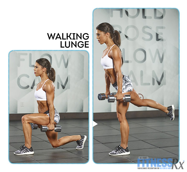 Tight and Toned Abs and Glutes With IFBB Bikini Pro Anya Ells - Walking Lunge with a Kickback