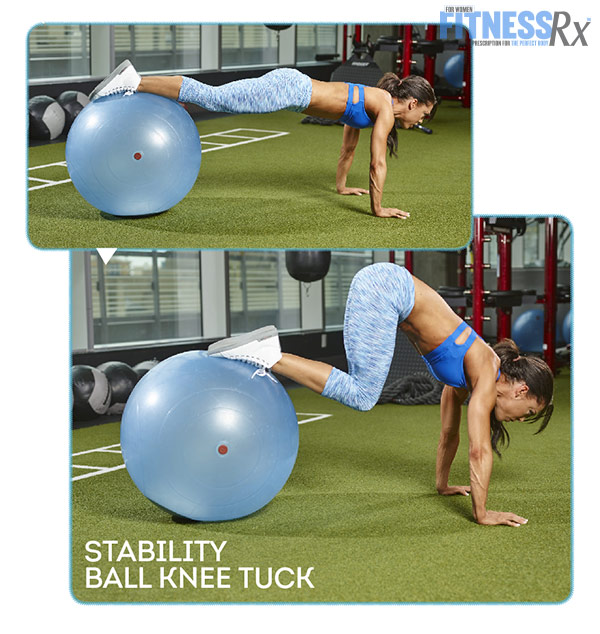 Tight and Toned Abs and Glutes With IFBB Bikini Pro Anya Ells - Stability Ball Knee Tuck