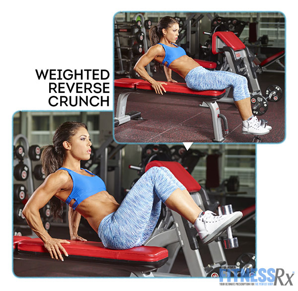 Tight and Toned Abs and Glutes With IFBB Bikini Pro Anya Ells - Weighted Reverse Crunch on a Bench