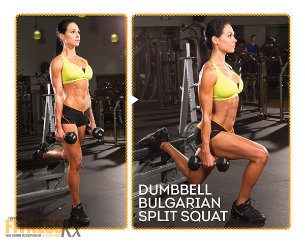 Best Shape Of Your Life Workout With Ms. Bikini Olympia Ashley Kaltwasser - Part 2: Legs and Glutes - Dumbbell Bulgarian Split Squat