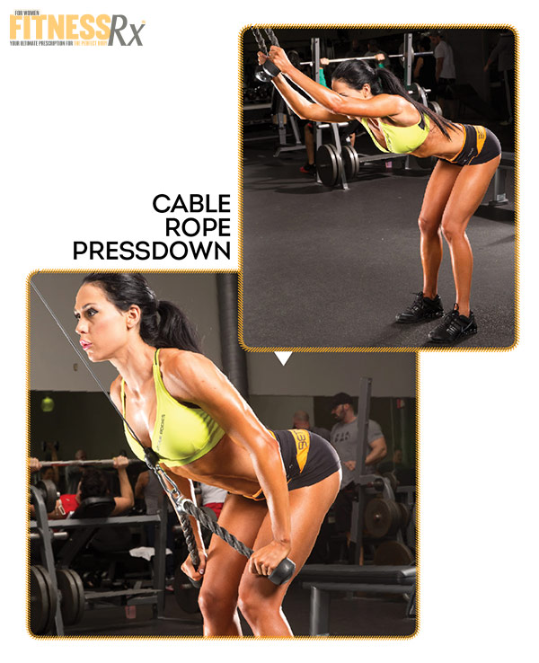 Best Shape Of Your Life Workout With Ms. Bikini Olympia Ashley Kaltwasser - Part 3: Back and Biceps - Cable Rope Pressdown