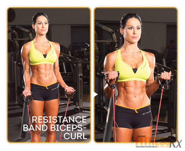 Best Shape Of Your Life Workout With Ms. Bikini Olympia Ashley Kaltwasser - Part 3: Back and Biceps - Resistance Band Biceps Curl