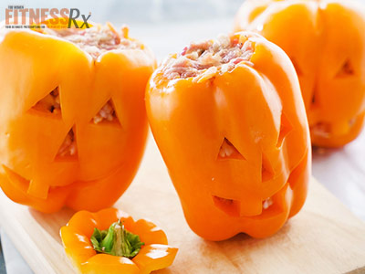 Tuna Stuffed Pepper Jack-O-Lanterns