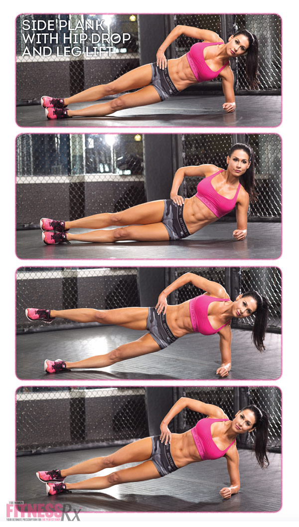 8 Killer Core Moves - With Ashley Kaltwasser - Side plank with hip drop and leg lift