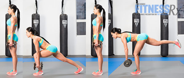 Get Sculpted Legs With Combination Exercises -  Dumbbell Reverse Lunge + Single-leg Romanian Deadlift Combo