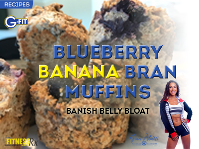 Blueberry Banana Bran Muffins - Banish Belly Bloat