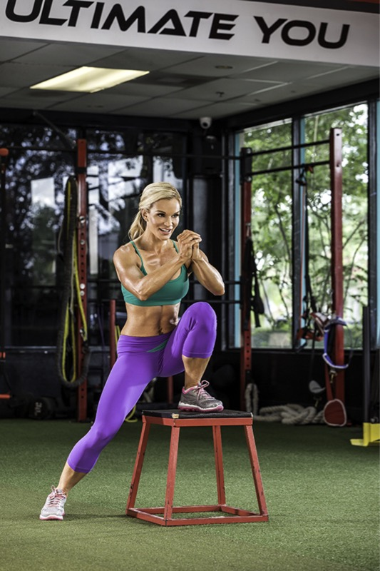 Michele Levesque-Presciano's Leg and Glute Blast Workout - Crossover Step Ups on Bench