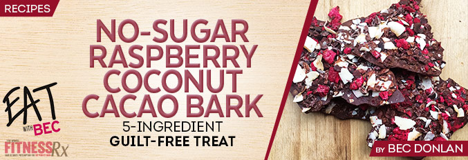 No-Sugar Raspberry Coconut Cacao Bark