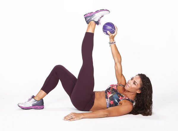 Opposite-Hand Toe Crunches With Medicine Ball